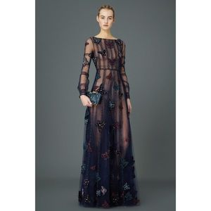 VALENTINO EMBELLISHED BUTTERFLY LONG SLEEVE GOWN